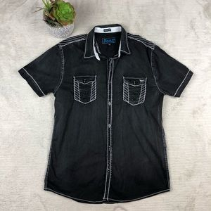 **Roar Men's Button Front Black w/ White Stitching